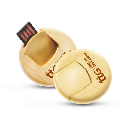Time To Giveaway Wooden Round USB