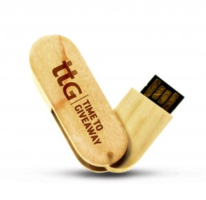 Time To Giveaway Wooden Swivel USB