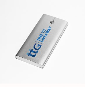 Time To Giveaway Silver 5000 Power Bank Front